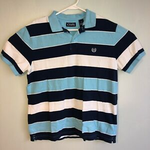 Chaps-Mens-Large-Blue-Stripe-Short-Sleeve-Polo-Shirt