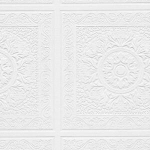 Large-Square-with-Medallion-Raised-Texture-White-Paintable-Wallpaper-48931
