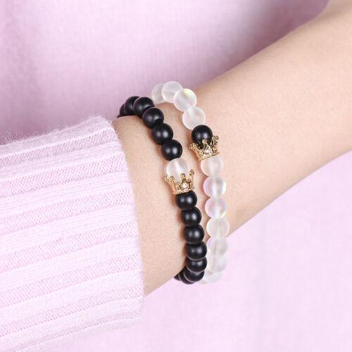 Hommes Femmes distance Bracelets Aura Quartz Pierre Couronne couples Bracelet Yinyang