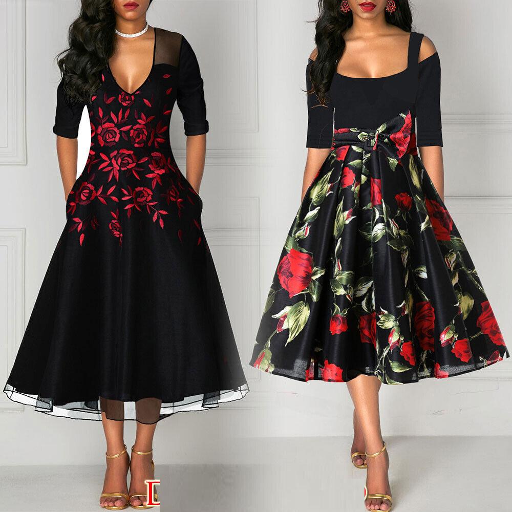 Sommerkleid Damen Kleid Rockabilly Petticoat Retro 50er 60er Jahre Vintage Party