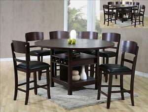 NEW! Susanna 7 pc Counter Height Espresso Dining Table w/Lazy Susan & 6 Chairs