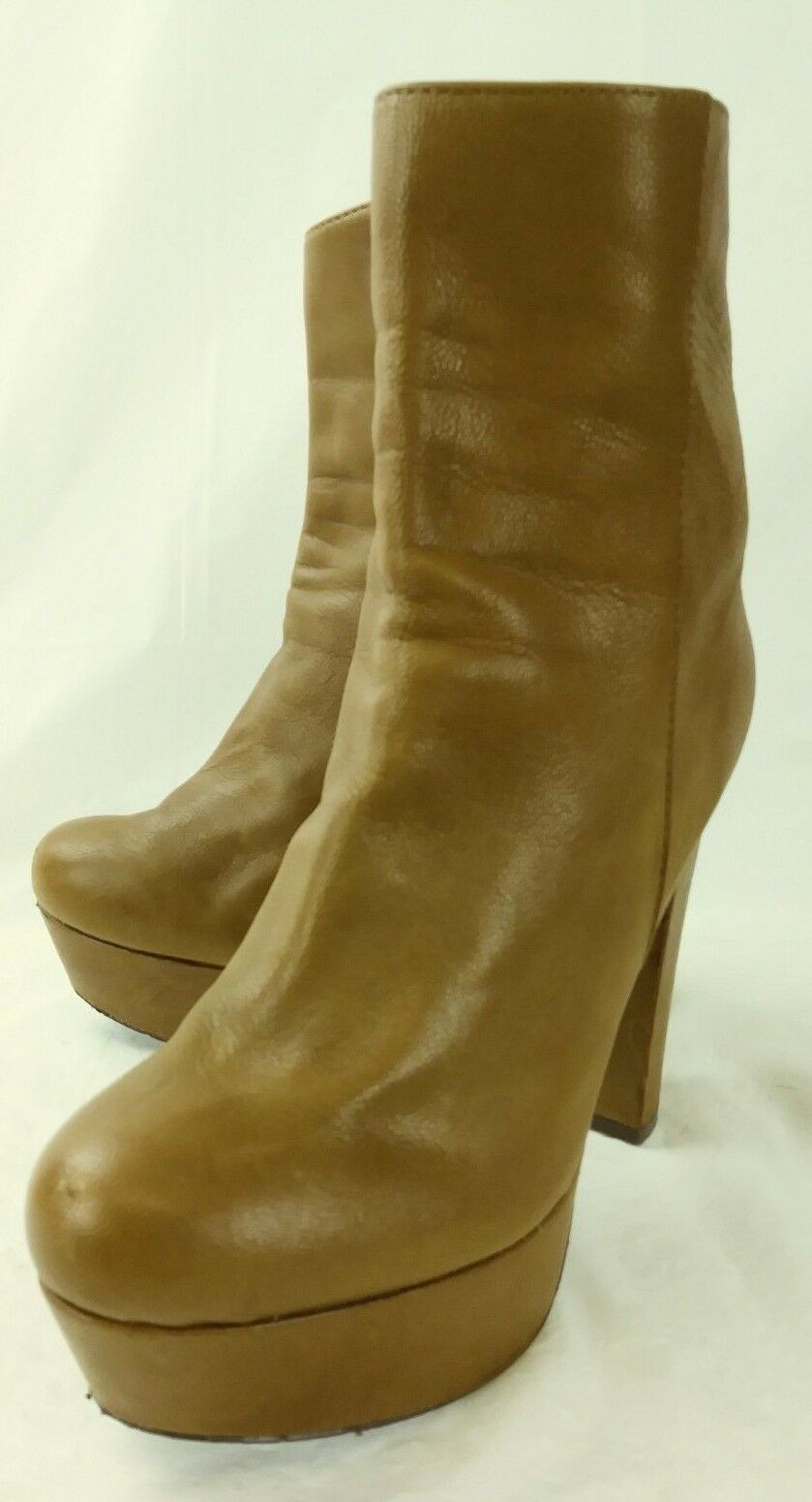 Steve Madden Wos Boots Ankle DESIRRED US 7.5 M Brown Leather Zip Platforms 2821
