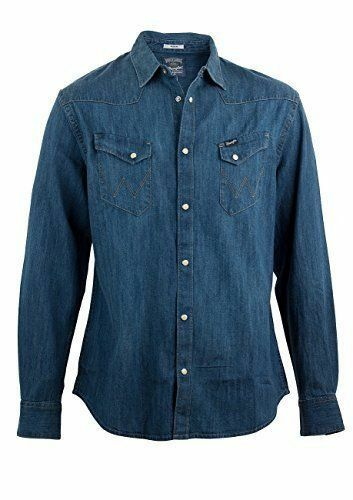 Da Uomo Wrangler Camicia in denim con bottoni popper stile City-Mid Blu Indaco
