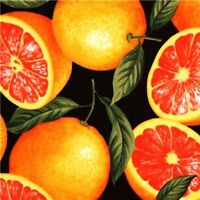 Delicious Pink Grapefruits On Black Cotton Fabric Fat Quarter