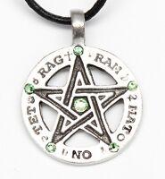 Pewter Amulet Pentagram Tetragrammaton Peridot Crystal August Birthstone Pendant