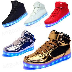 Detalles Acerca De Luz Led Alta Top Sneaker Con Cordones Unisex Ropa Deportiva Zapatos Casuales Usb Luminoso Mostrar Titulo Original