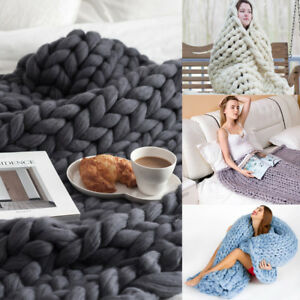 Handmade-Knitted-Blanket-Chunky-Warm-Wool-Throws-Bed-Large-Soft-Bedspread-X710