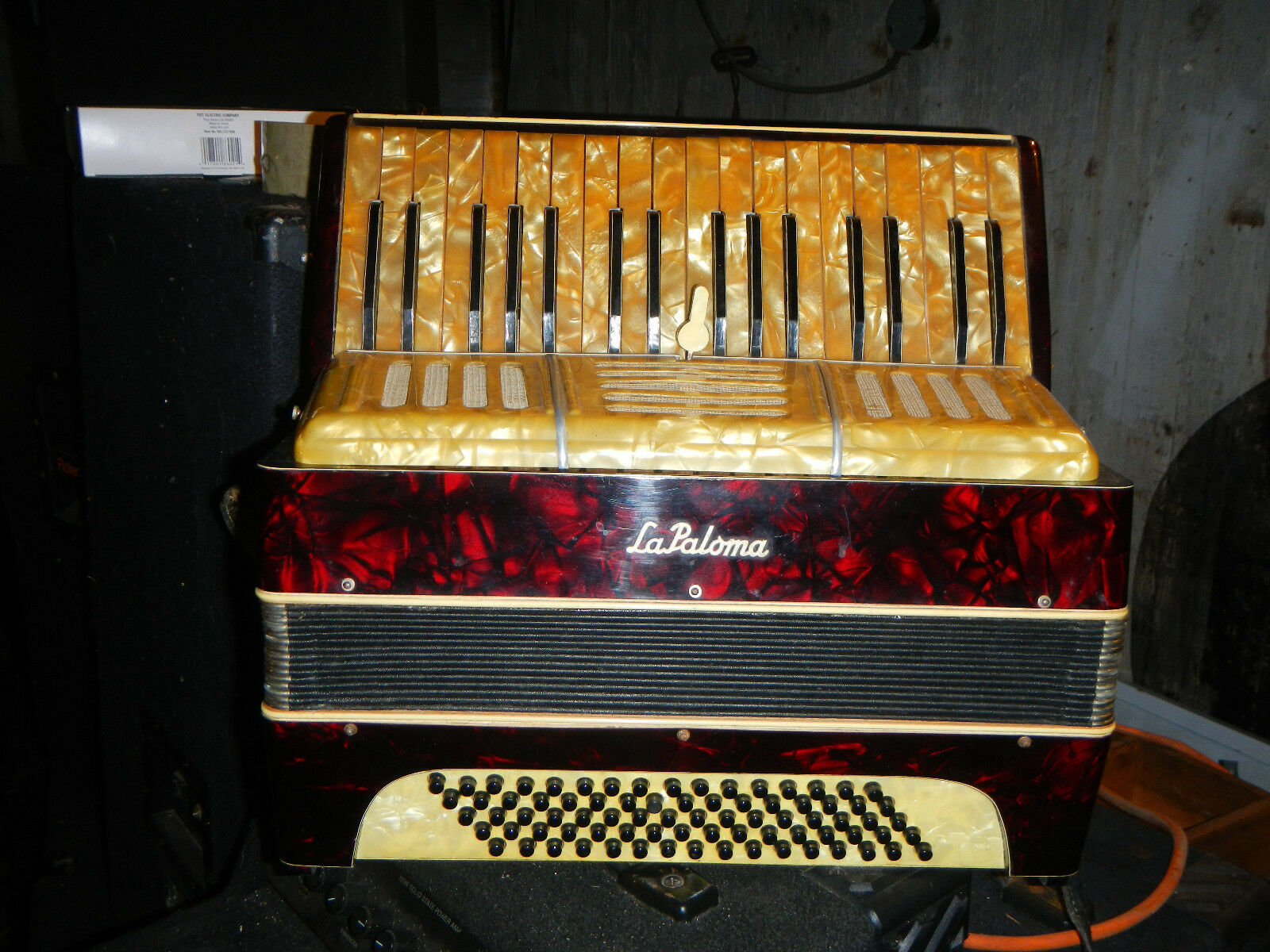 Vintage LAPALOMA  ACCORDION  w  Case Gold and rot Perloid Need Work