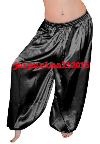 Women Satin Harem Yoga Pants Tribal Belly Dance Genie Aladdin Trouser Pantaloons