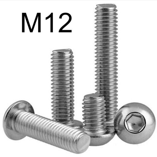 STAINLESS STEEL M12 SOCKET BUTTON SCREWS Dome Head A2 Allen Allan Hex Bolts
