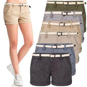 Eight2Nine Damen Chino Bermuda Stretch Shorts mit Flecht Gürtel Hotpants