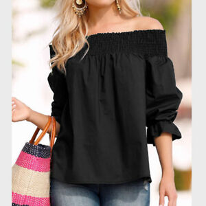 Womens Bow Off-Shoulder Knot Crop Tops Blouse Back Tie  Blouse T Shirts Tops