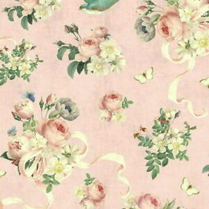 Cottage-Shabby-Chic-Riley-Blake-Rose-amp-Violet-039-s-Garden-Main-Blush-Fabric-BTY