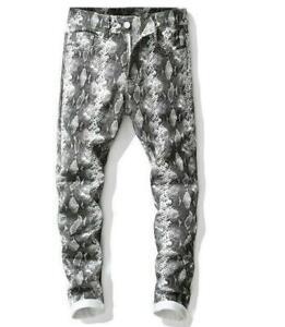 Mens Snakeskin Printed Nightclub Skinny Pants Occident Stage Trousers Leisure D