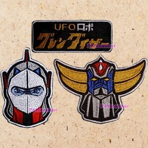 Lot of 3 Mazinger Z Patches Robots Heads Great Grendizer Go Nagai Tranzor Kabuto