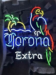 """New Corona Extra Bottle Palm Tree Neon Light Sign 17/""""x14/"""" Beer Lamp Real Glass"""