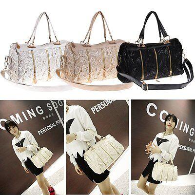 Women Lady Messenger Bag PU Leather Lace Satchel Tote Shoulder Bag Handbag Purse