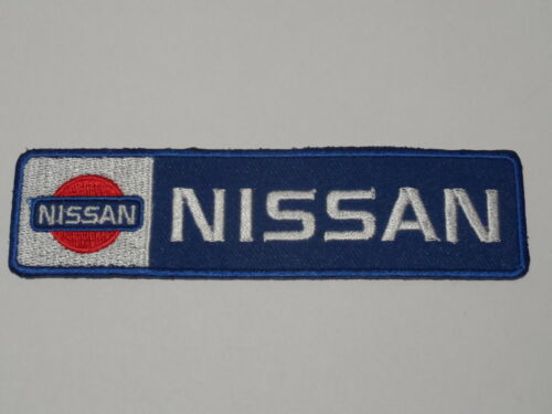 BLUE /& SILVER STRIPE a MOTORSPORTS RACING CAR SEW ON NISSAN IRON ON PATCH: