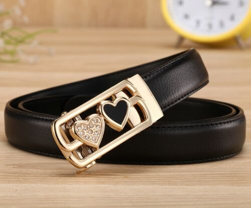 New Womens Belt Genuine Leather Auto Lock Length 100-120cm solid color dress