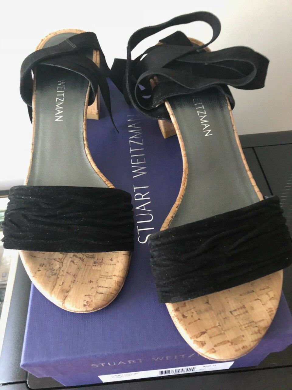 Stuart Weitzman SwiftyCork Suede Tie Up Ankle Wrap Sandals shoes, Size 8M