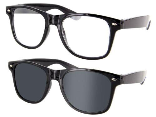 Retro Sonnenbrille Nerd-Brille Hornbrillen Party Atzen Streber klar /& schwarz