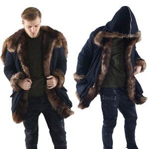 Chic Men's Winter Warm Long Coats Fashion Luxurious Faux Fur Furry ...