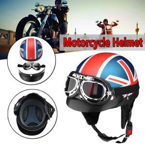 Universal-Motorcycle-Half-Face-Crash-Casque-Vintage-Lunettes-Moto