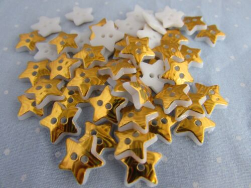 12mm Plastic Gold Star Shaped Buttons in Packs 2 5 10 or 20