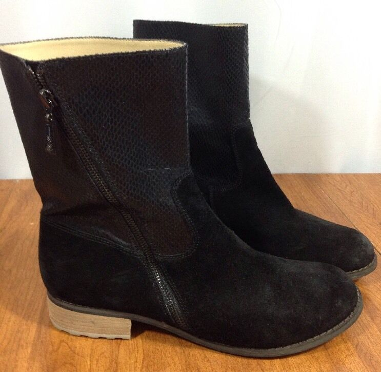 Size 9.5 Matt Bernson Black Suede Leather Fashion Side Zip Ankle Boots Womens