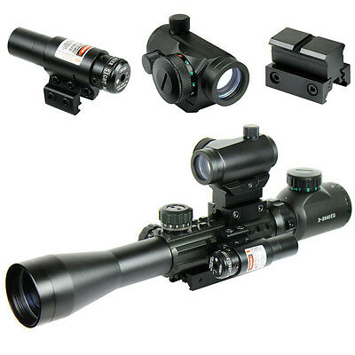3-9X40 Illuminated Tactical Rifle Scope with Red Laser & 5 MOA Dot Sight
