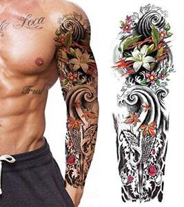 Tatouage Ephemere Homme Femme Bras Faux Tattoo Temporaire Sleeve Four Seasons Ebay