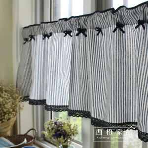 Cool Details About Mediterranean French Country Navy Stripe Kitchen Cafe Curtain Tier Valance Home Interior And Landscaping Palasignezvosmurscom