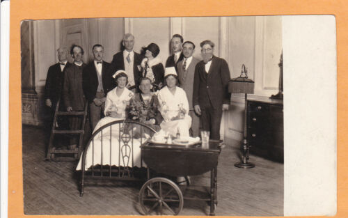 Real Photo Postcard RPPC Two Nurse & Patient in Bed ?Play