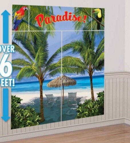 Summer Palm Island Beach Luau Tropical Photo Buffet Party Background Wall Decor