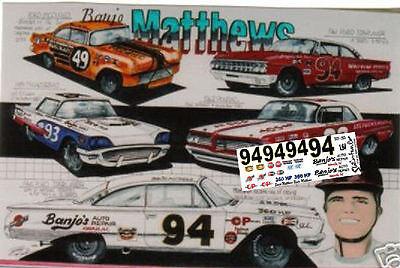 #94 Banjo Matthews WARRIOR MOTEL 1//64th HO Scale Slot Car Waterslide Decals