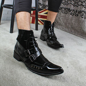 38a05070b36bea Gothic Men Boys Ankle Boots Oxfords Rivet Buckle Strap Pointed Toe ...