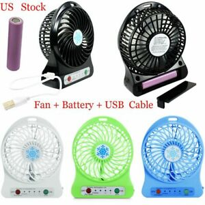 Portable Rechargeable 3 Mode LED Light Fan Air Cooler Mini Desk USB Fan Charging