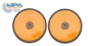 2-X-AMBER-REFLECTORS-FOR-QUADS-TRUCK-TRAILER-TRACTOR-FENCEPOSTS