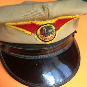 Details about Vintage AUTHENTIC INDIAN MOTORCYCLE Captains Hat ANTIQUE RARE  PATCH USA