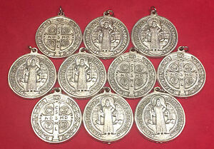 LOTE X 10 ¤¤ MEDALLA DE SAN BENITO ¤¤ 3cm. St. Saint Benedict medal ¤
