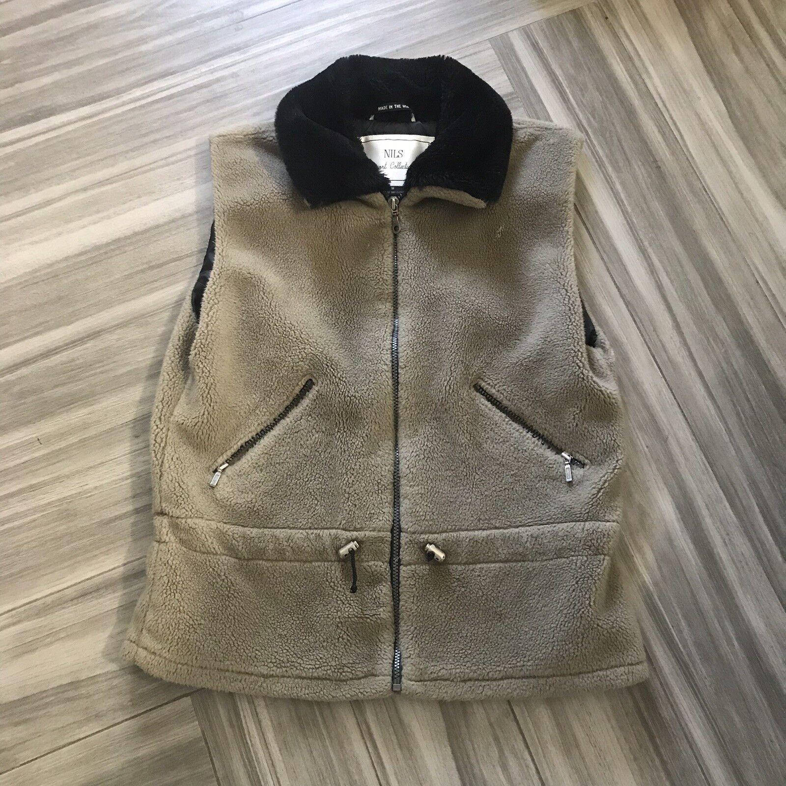 Nils Resort Resort Resort Collection Brown Vest Size Medium Full Zip Fur Collar Warm Sleeveles 584a9e
