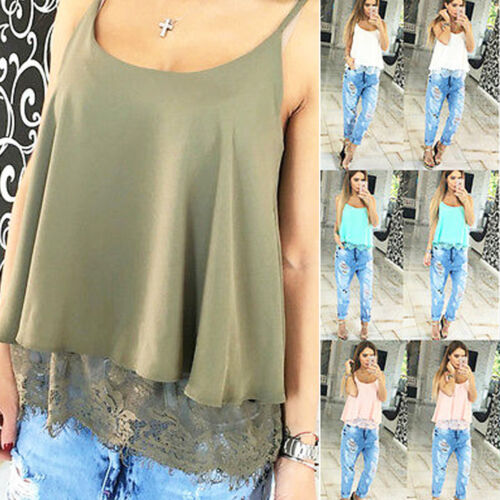 Fashion Women Summer Tank Tops Camis Lace Sleeveless Chiffon Shirt Casual Blouse