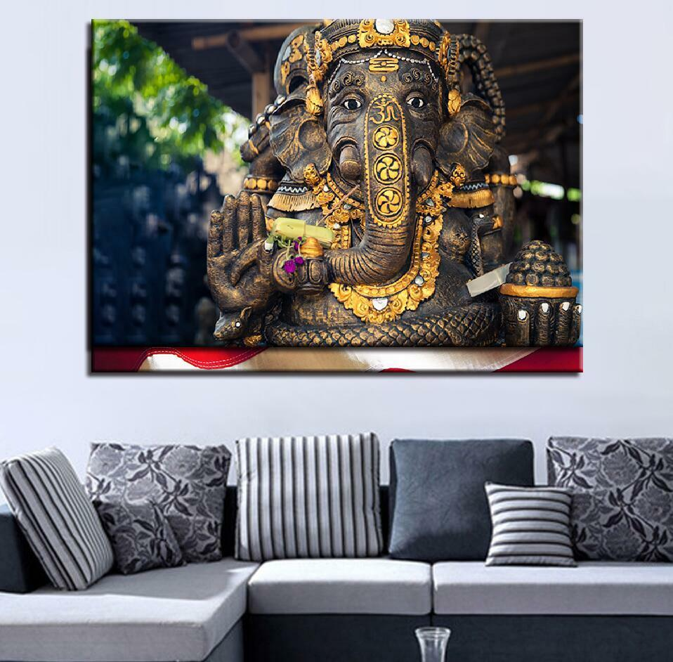 Blessing Elephant God Lord Ganesha 1 Panel Canvas Print Wall Art