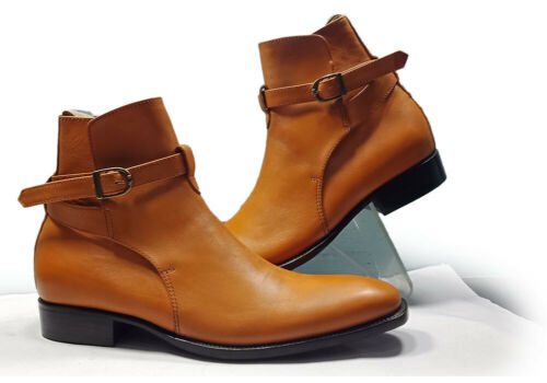 Handmade Jodhpurs Leather Boots Ankle High tan Buckle strap Dress Formal Boots