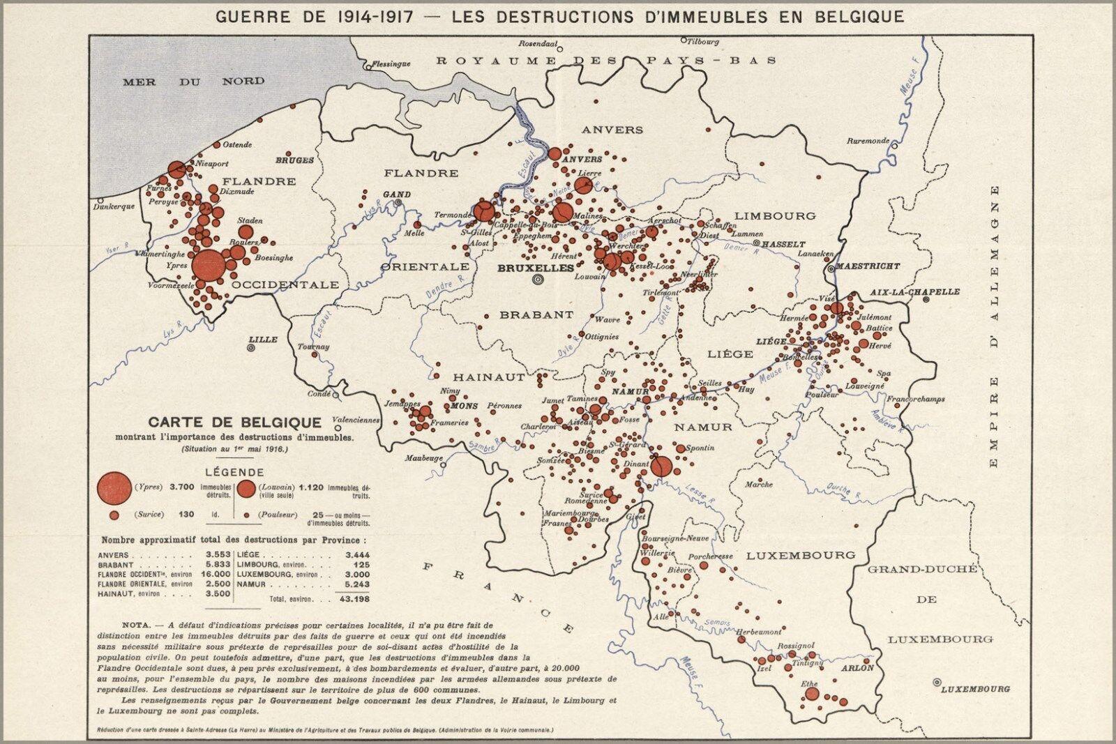 Plakat, Viele Größen; WWI Karte Destruction von Belgien auf Französischem