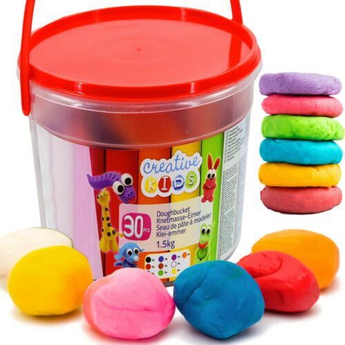 30 Piece 1.5 Kg Giant Dough Play Set in Bucket Craft Modelling Doh Clay