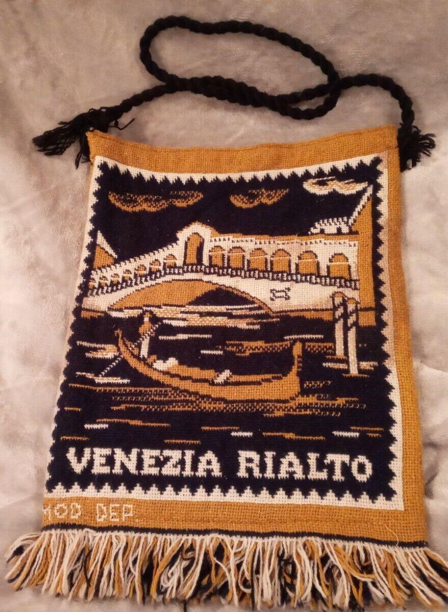 Vintage 1970's Venice Rialto Navy / Gold Tapestry Shoulder Bag Hippie Chic
