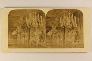 Italia-Torino-Palais-Royal-Interno-Lampadario-c1880-Foto-Stereo-Vintage-Albumina
