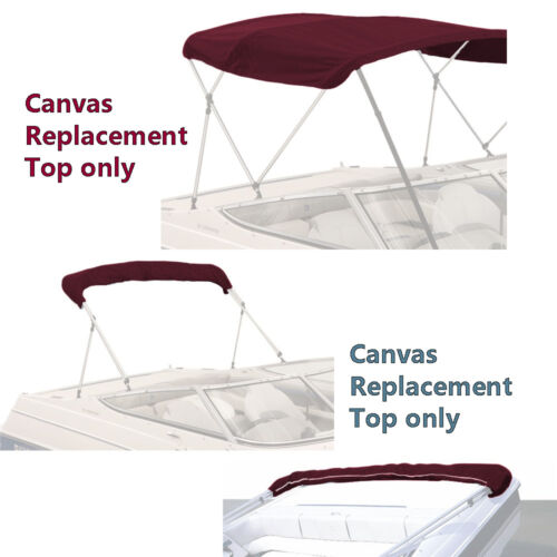 """Bimini Top Canvas Fabric Burgundy with Boot Fits 3BOW 72/""""L 54/""""H 54/""""-60/""""W"""