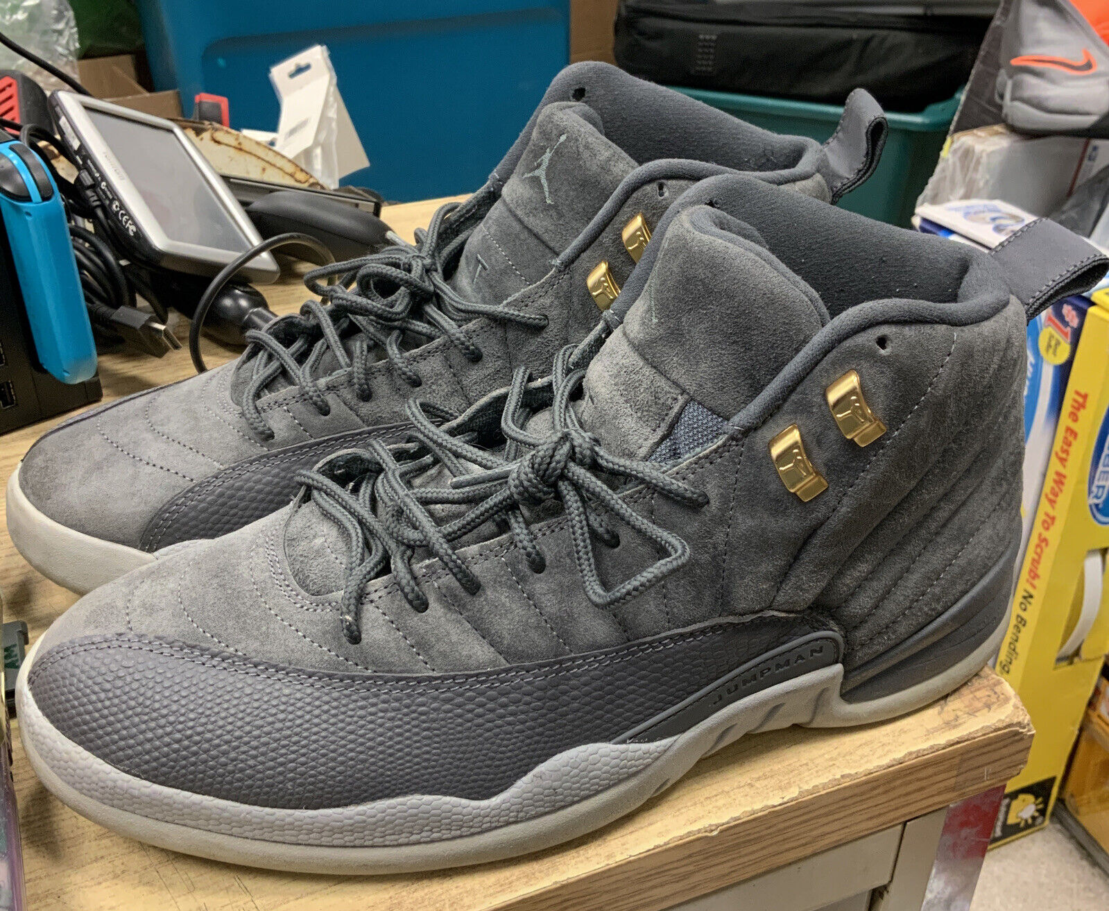 Nike Air Jordan 12 Retro XII Aj12 Dark Grey Suede Men Basketball ...